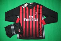 ac uniforms - Benwon AC Milan home long sleeve soccer uniform thai quality football kits adult s athletic sports set men outdoor soccer tracksuit