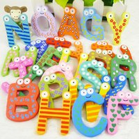 baby toy magnets - Baby Puzzle Toys Cute Cartoon Children s Toys Wooden Alphabet Fridge Magnets One Set have letter