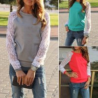 Wholesale New Women Hoody Spring Autumn Fashion Lace Patchwork Hoodies Casual Sweatshirts