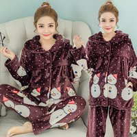 Wholesale High Quality Maternity Pajama Set Cute Snowman Feeding Nightwear Winter Comfy Flannel Homewear Christmas Pajama RB0054
