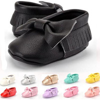 leather soles for shoes - Bow Baby Moccasins Kids Baby Moccs Infant Shoes for Baby Girls Boys Soft Sole Tassel Leather Sandals First Walkers Brand Designer