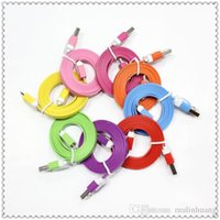 Wholesale 1M Micro V8 Noodle Flat Data USB Charging Cords Charger Cable Line for iPhone s s s Plus Samsung Android Phone