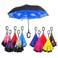 Wholesale 2016 Special Design Double Layer Inverted Umbrella Reverse Rainy Sunny Umbrella with C Handle Self Standing Inside Out CC