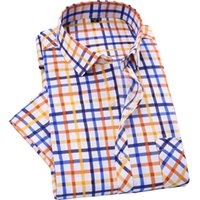 basic mens fashion - New Fashion Mens Short Sleeve Plaid Shirts Slim Fit Casual Chemise Homme Basic Check Shirt Social Business Shirt Red Green Blue