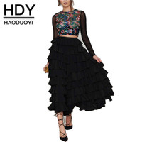 Wholesale HDY Haoduoyi Womens Fashion Summer Solid Black Ball Gown High Waist Layered Skater Skirt Elegant Casual Maxi Skirt