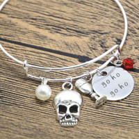 american treasures - 12pcs Pirate bracelet Yo Ho Yo Ho Pirate treasure map bangle Drink up skull Crystal Pearl