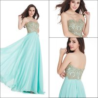 Wholesale 2016 New Sage Designer High Quality Prom Dresses Long Sweetheart Gold Lace Appliques Backless Cheap In Stock A line Maid of the Honor Dress
