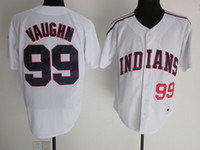 Wholesale 2016 Cheap Ricky Vaughn Jersey Men s Stitched Indians Ricky Vaughn Baseball Jerseys cool base White