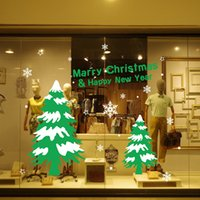 bathroom wall products - Shop Window Wall Stickers for Decorative Christmas Tree Xmas Home Decoration Window Display Removable Wallpaper Product Code