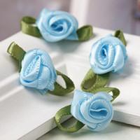 Wholesale 100pcs Mini Satin Ribbon Rose Flower Leaf Wedding Decor Appliques Sewing DIY Set CA12252