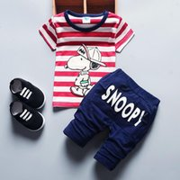 baby snoopy boy short - 2016 summer snoopy boy short sleeved suit cotton straped toddler T shirt and pants baby boy casual tracksuit children clothing set K074