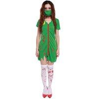 Wholesale 2016 Adults Female Women Green Horror Blood Nurse Zombie Doctors Dress Stage Wear Horror Halloween Carnival Roleplay Makeup Cosplay Costume