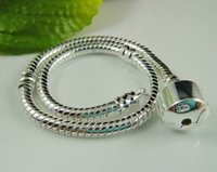 Wholesale 16 cm European Charms Snake Silver Plated Bracelet Stamped Bracelets Fit For European Beads Charms Dangles