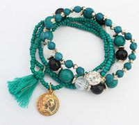 Wholesale Hot Selling Rows Fashion Beads Bracelet Women Multi Elastic Bracelets Pompom Tassel Pendant Fireball Bracelets Red Green Black Blue Brown