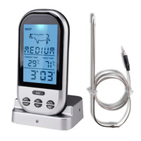Wholesale BBQ Thermometer Remote Oven Wireless Food Temperature with Stainless Steel Probe for Meat Chicken Pork Meat Thermometer with BBQ Grill