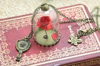 beauty charms - 12pcs Beauty and The Beast Enchanted Rose Inspired Necklace Rose Glass Dome bronze tone mirror charm