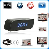 Wholesale Mini Wireless Wifi IP P HD Clock Camera Spy Hidden IR Security Network DVR