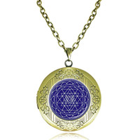 Wholesale Sri Yantra Locket Necklace Sacred Geometry Pendant Chakra Jewelry Buddhist Reiki Necklace Meditation Choker Yoga Gift Indian Dome Jewellery