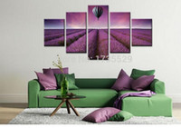 balloon frames - 5 Piece Modern Wall Art Home Decor Purple Lavender With Hot Air Balloon Large Living Room Oil Painting Pictures on Canvas Prints