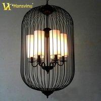 Wholesale Chinese Style Iron Birdcage Pendant Lights Lamp Loft Vintage Wrought Iron Cage Pendant Light Hanging Lamps For Villa Restaurant