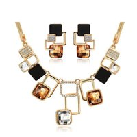 agate dark crystal - European and American fashion Golden Geometric Big Stone Jewelry Sets Austrian Crystal Fine jewellery Set for women personality