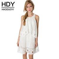 Wholesale HDY Haoduoyi Woman Fashion Summer White Kawayi Double Lace A Line Cut Out Crew Neck Sleeveless Mini Dress