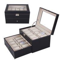 Wholesale Hot Sale Double Layer Grid PU Leather Watch Display Box Jewelry Storage Organizer Wrist Watches Case Holder
