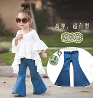 Wholesale 2016 spring New Arrival denim bell bottoms European American Style retro bell bottoms jeans girls big virgin pants