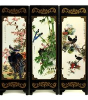 Wholesale Small wooden lacquer screen living room bedroom den Decoration Holiday Gift Bird talk Flower fragrance