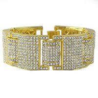 Wholesale 3 Colors k Gold Iced Out MicroPave Simulate Diamond Men Hip Hop Adjustable Bracelet For Men