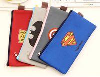 batman pen - Superman Transformers Captain America Batman Pouch Canvas Zipper File Packet Kids Pen Bag Cute Cartoon Coin Case
