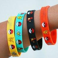 Wholesale New Poke Pikachu Silicone Bracelets Wristbands Soft Silicone Wrist Straps FNAF Figures Kids Toys Jewelry Gift XL P31