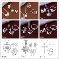 Wholesale Women s wedding sterling silver jewelry sets sets a mixed style EMS56 fashion gemstone Necklace Bracelet Earring Ring jewelry set
