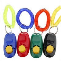 bark collar puppy - New arrive Dog Pet Puppy Training Clicker Click Button Trainer Obedience Wrist Convenient colours for you to choose