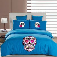 Cheap Cartoon Skull And Crossbones Printed Mainstream Quilt Bedding Set Duvet Cover Bed Sheet Pillowcase Bedding Sets Duvet Cover