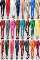 Wholesale Autumn winter leggings Europe and the United States big yards and velvet show thin panty color of tall waist tight leather pants