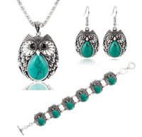 Wholesale Europe and the United States fashionable metal turquoise three suits the owl necklaces earrings bracelet jewelry