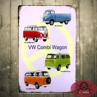 Wholesale Classic Retro VW VOLKSWAGEN Combi Wagon Van Rustic Tin Sign Metal Art Wall Decor cm