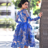 Wholesale Cocktail Dress Blue Sleeve - 2016 Royal Blue Sheer Long Sleeves Lace Homecoming Dresses Scoop Knee Length A Line Short Cocktail Party Gowns Prom Dresses Vestidos BO9853