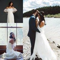 empire waist - Modest Spaghetti Wedding Dresses Empire Waist Open Back Lace Top Short Sleeves Plus Size Split Maternity Bridal Gowns Cheap