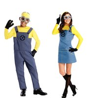 Wholesale New Adults Mens Women Minion Costume Halloween Anime Mini Despicable Me Cosplay Costumes Suits Party Clothes S XL