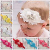 Wholesale Solid Chiffon Flower With Elastic Flower Headband For Kids Girls Crown Elastic Headband Baby Headband
