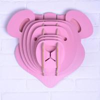 bear wood carvings - Creative Wood Bear Head Wall Sticker European Home Deco Bear Head Wall D Stickers DIY Wood Carving Animal Head DIY
