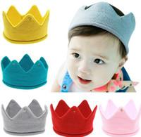 beanie babies birthday - 12pcs Baby Knit Crown Tiara Kids Infant Crochet Headband cap hat birthday party Photography props Beanie Bonnet