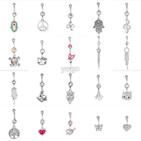 Wholesale Mixed Belly Button Rings Crystal Dangle Charm Navel Ring Surgical Steel Bar Body Jewelry piercing ombligo Y5003