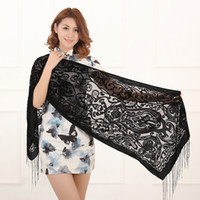 155cm*50cm gift - 2016 Spring and Winter Pure Color Vase Burnout Velvet Scarf Women Tassel Evening Shawl Hot Sale Gift For Mom and Wife