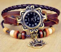 Wholesale Female Girl Retro Braided Leather Bracelet Wristband Watch Quartz Fashion Crown Pendant Wristwatch Movement Christmas Gift