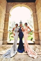 Wholesale New Halter Sexy Bridesmaid Dresses Lace Applique Beads Mermaid Sweep Train Formal Dresses For Women Multi Color Bridemaids Gown Sexy