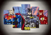 batman superman pictures - 5Pcs With Framed Printed Cartoon Superman Batman Flash justice league Group Painting children s room decor poster picture canvas wall art