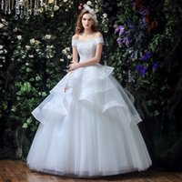 Wholesale Boat Neck Off the Shoulder Elegant Wedding Dresses Princess Ball Gown Lace Bridal Wedding Gown Tiers Floor Length Bridal Wear